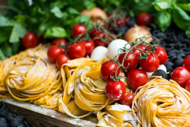 Yellow Pasta and Cherry
